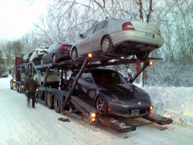 Ever driven a Z on packed and icy snow...without snow tires. It was fun just getting it down the driveway! She's on her way to Fast Intentions for her twin turbo install!
