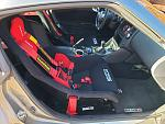 The new Sparco seat in place in the 370.  With the seat slider it is just a bit higher in the car.  Sitting in it I am just touching the ceiling but...