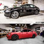 this black sport package Maxima got wrapped in Matte Red, lowered with some wheel spacers courtesy of Phenomenal Vinyl and Real Auto Dynamics