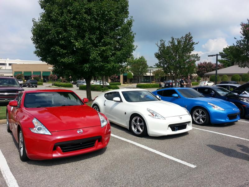 A patriotic line-up @ Cars and Coffee meet in Germantown TN