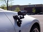 Steve's Delkin Double Gecko camera mount with his HD camcorder doing it's thing.